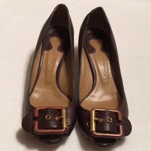 Chloe Brown Buckle Low Heel Shoes sz 38